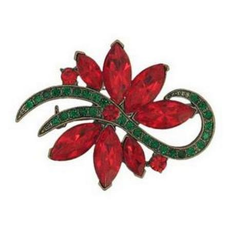 Crystal Poinsettia Pin