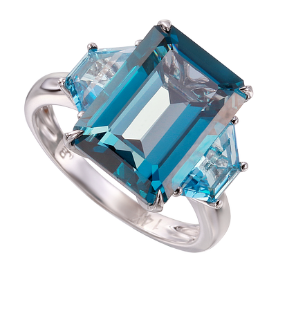 London Blue Topaz Baguette Ring