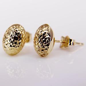 Yellow Gold Diamond Cut Stud Earrings
