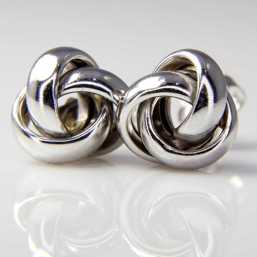 White Gold Love Knot Stud Earrings Todays Cargo