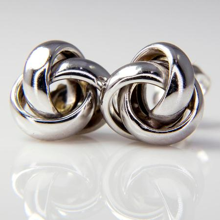 White Gold Love Knot Stud Earrings