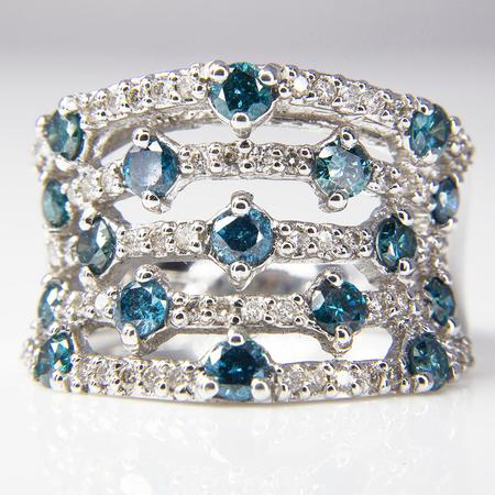 White Gold Blue and White Diamond Band