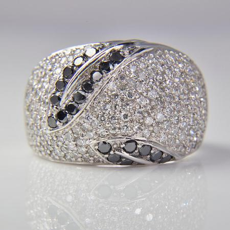 White Gold White and Black Diamond Pave Band