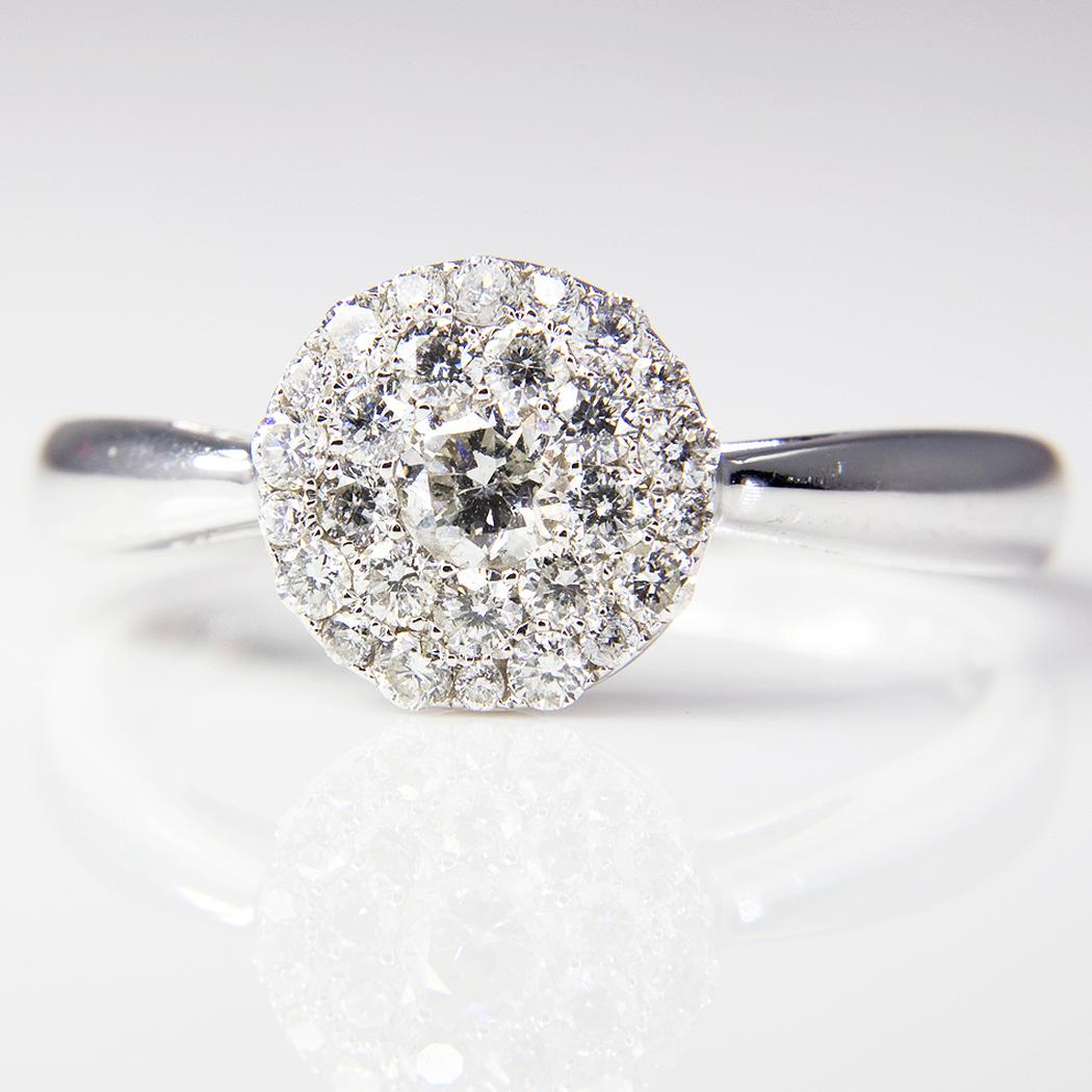 1b8f39ccd White Gold Diamond Cluster Ring ~ Todays Cargo
