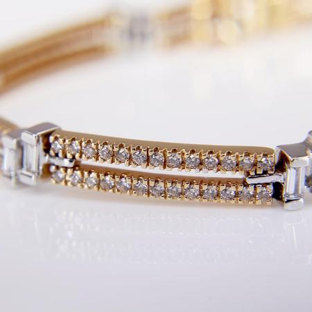 White and Rose Gold Contemporary Diamond Bracelet