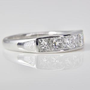 White Gold Princess Cut Diamond Band