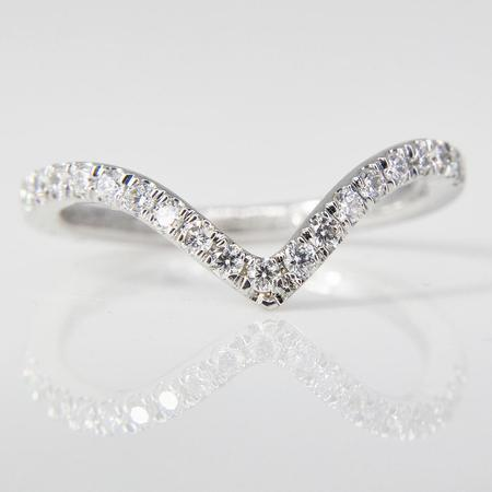White Gold Diamond V-shape Ring