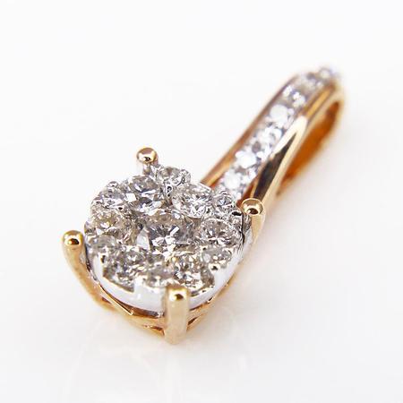 White Gold Aquamarine and Diamond Pendant