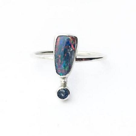 Opal and Faceted Tanzanite Ring