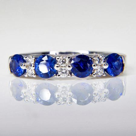 White Gold Sapphire and Diamond Band