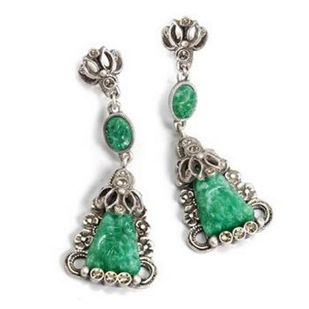 Vintage Green Jadeite Glass Dangles