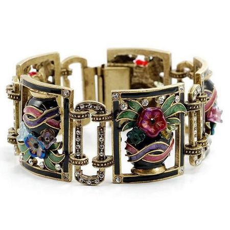 Enameled Flower Vase Bracelet