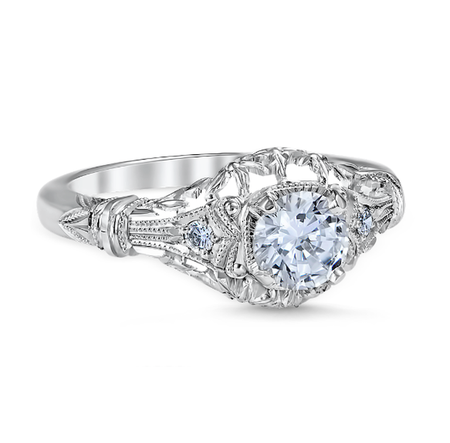 White Gold Edwardian Blossom Engagement Ring