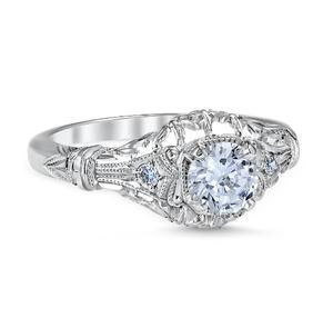 White Gold Edwardian Blossom Engagement Ring