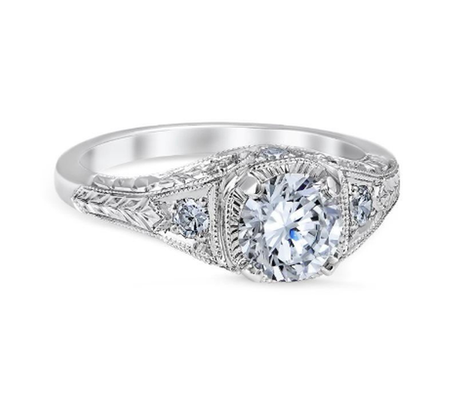 White Gold Floral Burst Engagement Ring