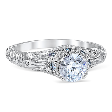 White Gold Sweeping Lace Engagement Ring