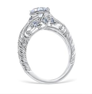 White Gold Florin Leaf Engagement Ring