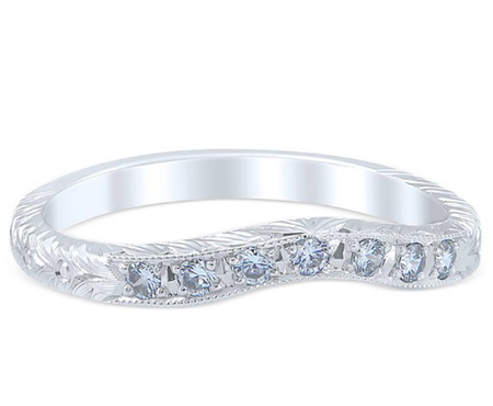 White Gold Florin Leaf Wedding Band