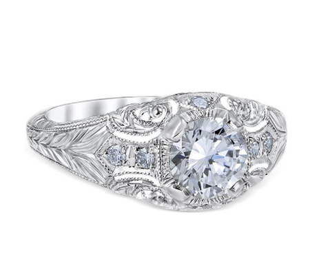 White Gold Romanesque Arcade Engagement Ring
