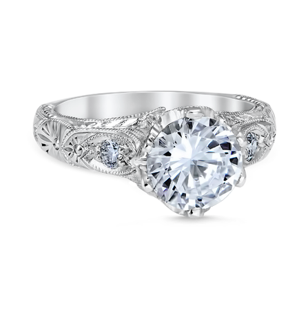 White Gold Venetian Crown Engagement Ring