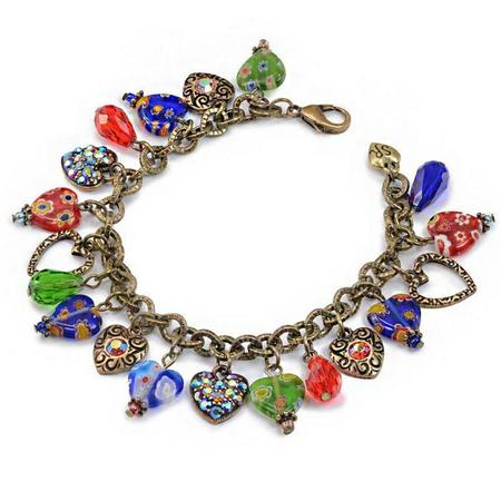 Glass Heart Charm Bracelet