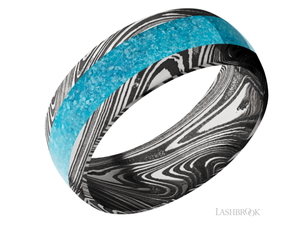 Damascus Wedding Band D8D14MARBLE/MOSAIC (Turquoise)