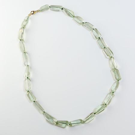 Faceted Green Quartz/Green Amethyst Necklace