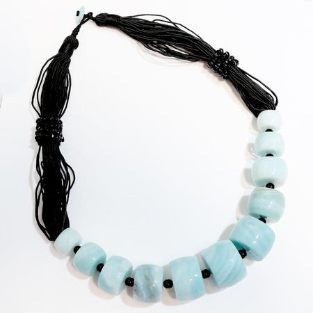 Onyx and Blue Quartz Bead Necklace