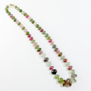 Variegated Tourmaline Bead Necklace
