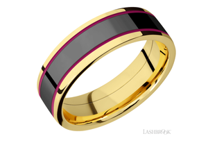 Yellow Gold Wedding Band 14KYP7.5F14/ZIRCONIUM/MGA