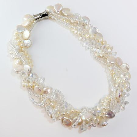 Freshwater Pearl and Crystal Toussard and Earring Set  SOLD