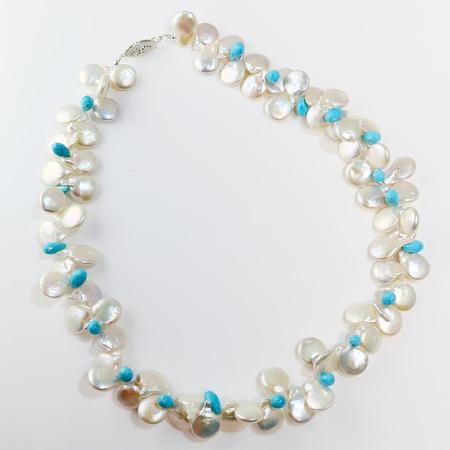 Freshwater Coin Pearl and Turquoise Necklace  SOLD