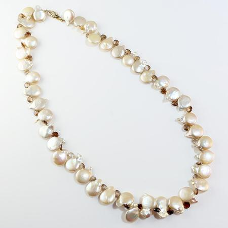 Freshwater Coin Pearl and Zircon Necklace