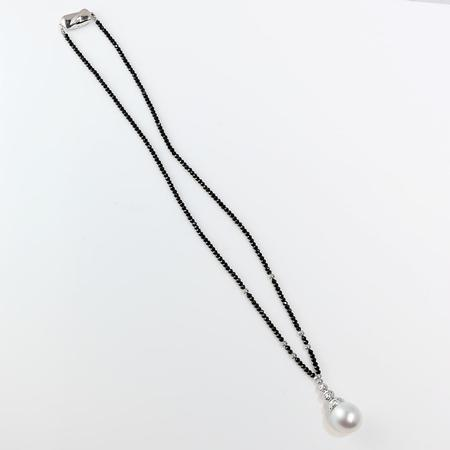 Black Spinel and South Sea Pearl Y Necklace