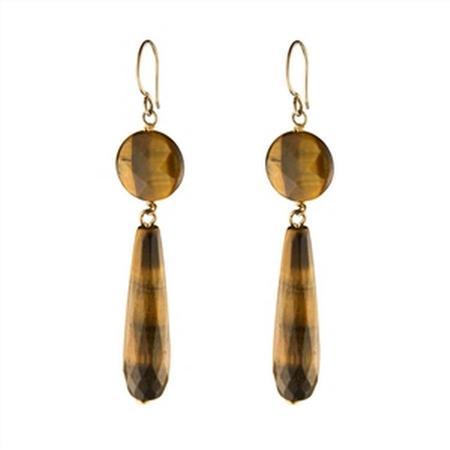 Gold Filled Tiger Eye Dangle Earrings
