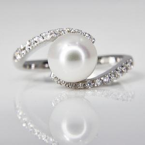 White Gold Pearl and Diamond Bypass Ring