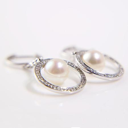 White Gold Japanese Akoya Pearl and Diamond Earrings