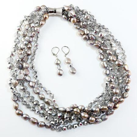 Freshwater Pearl and Crystal Toussard & Earring Set