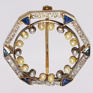 Antique Yellow Gold Sapphire, Diamond, and Seed Pearl Brooch