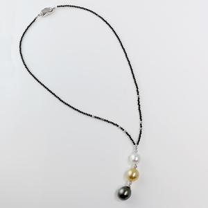 Black Spinel, Tahitian, and South Sea Pearl Y Necklace