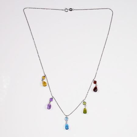 White Gold and Multicolor Gemstone Necklace