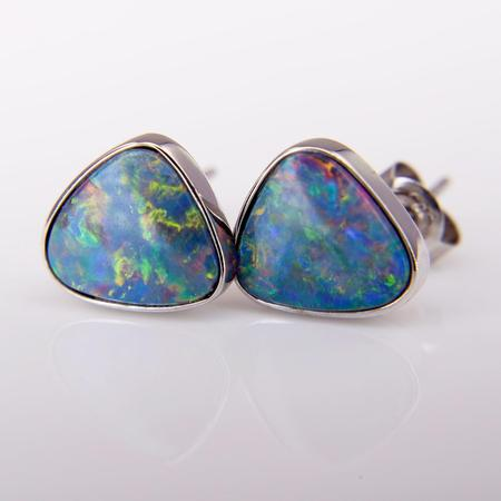 White Gold Boulder Opal Earrings