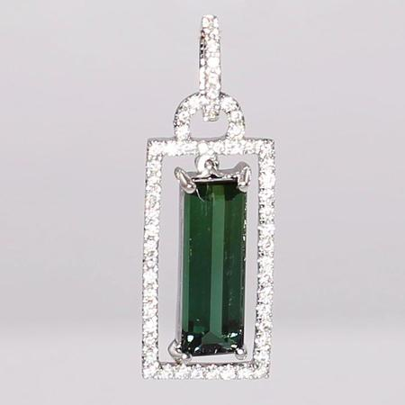 White Gold Tourmaline and Diamond Pendant