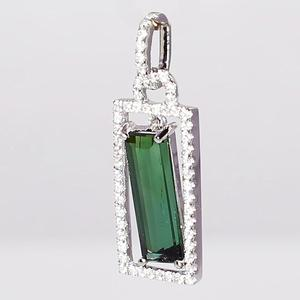 White Gold Tourmaline and Diamond Pendant  SOLD