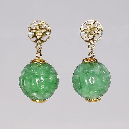 Yellow Gold and Jade Dangle Earrings
