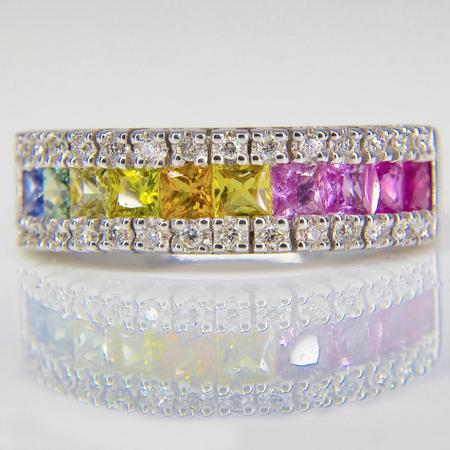White Gold Multicolor Sapphire and Diamond Band