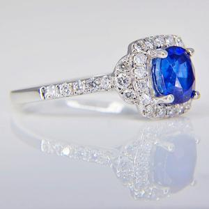 White Gold Sapphire and Diamond Ring  SOLD