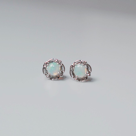 White Gold Opal Stud Earrings