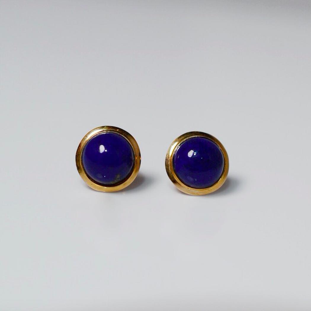 Yellow Gold Lapis Stud Earrings