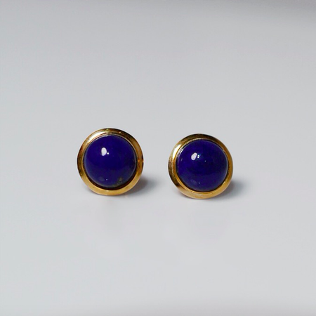Yellow Gold Lapis Stud Earrings